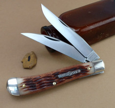 GEC - Tidioute - Weasel - Two Blade -  Antique Amber Jig Bone (1) - (Improved Trapper)