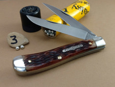 GEC - Tidioute - Weasel - Two Blade -  Antique Amber Jig Bone (3) - (Improved Trapper)