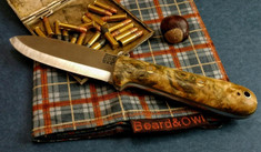 Rogue Bear Knives - Kephart - Buckeye Burl Wood w/Ranger Green Liners - NEW