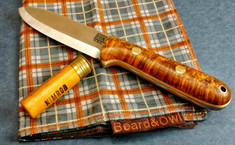 Rogue Bear Knives - Kephart - Black Ash Burl Wood w/Snakeskin Liners - NEW