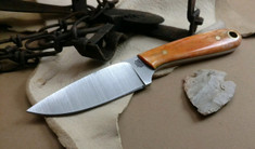 LT Wright Handcrafted Knives -  Frontier First - Dyed Orange Bone - Flat Grind -  A2 Steel Blade
