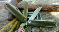 Great Eastern Cutlery - Farm and Field -  #35 Calf/Pen Work Knife - O.D. Green Linen Micarta
