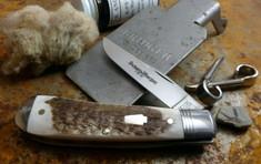 Schatt and Morgan Cutlery  - Keystone - Sway Belly Trapper - American Elk Stag -1