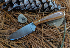 LT Wright Handcrafted Knives -  Frontier First -  Dyed Brown Bone - E - Flat Grind -  D2 Tool Steel