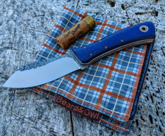 Fiddleback Forge -  Nessmuk - Blue Burlap Micarta - Natural and White Liners