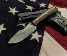 L.T. Wright Handcrafted Knives - Second Amendment -  Saber Grind - Green Micarta - Matte Finish