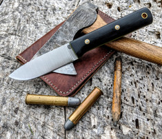 LT Wright Handcrafted Knives -  Maverick Scout  - Black Micarta w/Toxic Green Liners - Matte Finish - A2 Steel - Flat Grind