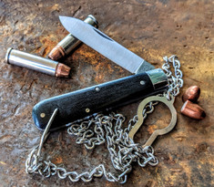 GEC -Tidioute - Huckleberry Boys Knife - Single Spear Blade with Bale and Chain -  Gabon Ebony Wood