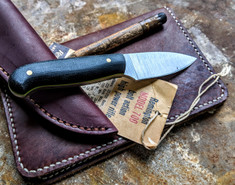 LT Wright  Handcrafted Knives - Patriot -  Black Micarta w/toxic green liners  - Matte Finish - Flat Grind - 01 Tool Steel - NEW