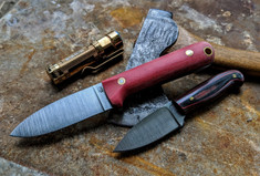 LT Wright Handcrafted Knives - THE NEXT GEN -  Red Micarta w/Black Liners - Matte Finish -  Flat Grind - 3V Steel