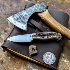 LT Wright  Handcrafted Knives - Patriot - NICE Stag Handles with Black Liners - A -Flat Grind - A2 Tool Steel - NEW