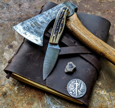 LT Wright  Handcrafted Knives - Patriot - NICE Stag Handles with Black Liners - B -Flat Grind - A2 Tool Steel - NEW
