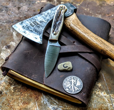 LT Wright  Handcrafted Knives - Patriot - NICE Stag Handles with Black Liners - C -Flat Grind - A2 Tool Steel - NEW