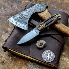 LT Wright  Handcrafted Knives - Patriot - NICE Stag Handles with Black Liners - D -Flat Grind - A2 Tool Steel - NEW