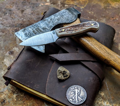 LT Wright  Handcrafted Knives - Patriot - NICE Stag Handles with Black Liners - E -Flat Grind - A2 Tool Steel - NEW