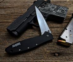 Kershaw - Leek - Black Anodized Aluminum Handles - Stone Washed Blade