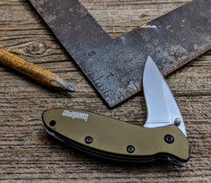 Kershaw - Scallion - OD Green  Anodized Aluminum Handles - 410 SS Bead Blasted Blade