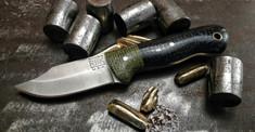 Rogue Bear Knives - Mini Claw - Black G10 w/Green Shadetree Micarta Bolster- NEW