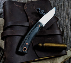 LT Wright  Handcrafted Knives - Revere -  Black Micarta w/Copper Pins -   - Flat Grind - A2 Steel - NEW