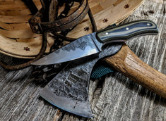 Tanyard Forge - Hand Forged San Mai Blade   - 22 Degree Secondary Bevel - 45 Layer Damascus Steel - NEW