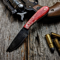 LT Wright Handcrafted Knives -  Frontier First  - Dyed Red Bone w/White Liners - Flat Grind -  01 Blued Steel Blade