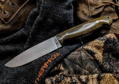 LT Wright Handcrafted Knives  - Trekker  -  Flat Grind - Green Linen Micarta - Polished Finish - NEW