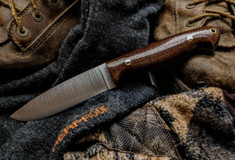 LT Wright Handcrafted Knives  - Trekker  -  Flat Grind - Burlap Micarta - Polished Finish - NEW