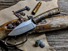 L.T. Wright Handcrafted Knives - Great Plainsman -  Saber Grind -Curly Maple  Wood w/Blue Liners - D2 Tool Steel