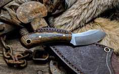 LT Wright Handcrafted Knives  - Lil MUK - Bocote Wood w/OD Green Liners - Saber Grind