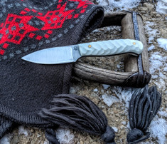 LT Wright  Handcrafted Knives - Patriot - NICE White G10 - Mountain  Finish - Flat Grind - A2 Tool Steel - NEW