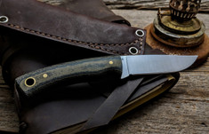 LT Wright  Handcrafted Knives - Revere -  Green/Black Micarta   - Flat Grind - A2 Steel - NEW