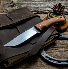 LT Wright  Handcrafted Knives - Revere -  Natural Micarta w/Blue Liners   - Flat Grind - A2 Steel - NEW
