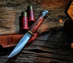 Hess Knifeworks - Whitetail  - Redwood Burl  - Aluminum Pommel
