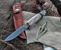 Hess Knifeworks - Whitetail  - Birdseye Maple  - Aluminum Pommel