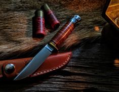 Hess Knifeworks - Whitetail  - Stacked Leather Handle  - Aluminum Pommel