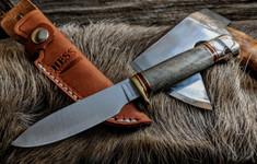 Hess Knifeworks - Muley - Buckeye  Burl - Aluminum  Pommel