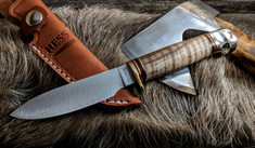 Hess Knifeworks - Muley - Curly Maple Wood - Aluminum  Pommel