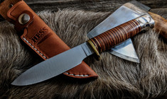 Hess Knifeworks - Muley - Leather Handle - Aluminum  Pommel