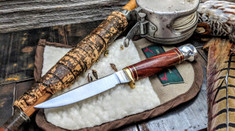 Hess Knifeworks - Bird and Trout - Cocobolo Wood  -2 - Polished Aluminum Pommel