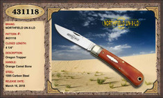Great Eastern Cutlery - Northfield - Oregon Trapper  - Orange Camel Bone