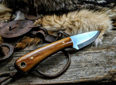 LTWK - Frontier Valley - Brown Dyed Bone Handles w/Black Liners  - Scandi Grind -  A2 Tool Steel - NEW