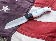Rogue Bear Knives - Custom Sheepsfoot - Blue Maple Burl/Courthouse Clockface Two Tone w/Fire Red G10 Liners- NEW