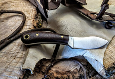 LT Wright Handcrafted Knives  - Lil MUK - Brown Burlap Micarta - 3V Steel - Flat Grind - NEW