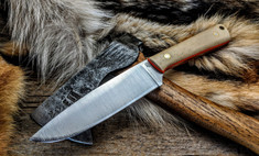 LT Wright Handcrafted Knives -  Large Pouter  - Snakeskin Micarta w/Orange Liners - AEB-L Stainless Steel - Flat Grind - NEW
