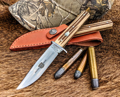 Great Eastern Cutlery - H10  Hunter - Small Bowie - Woodland Muslin Micarta Handles