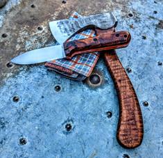 LTWK - GENESIS - Desert Iron Wood w/Orange Liners - Convex Grind - AEB-L Stainles Steel Blade - NEW