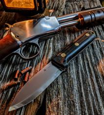 LTWK - GENESIS - Black Micarta w/White  Liners - Scandi Grind - A2 Tool Steel Blade - NEW