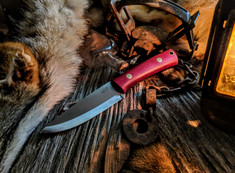 LTWK - Gary Wines - Bushcrafter  - Shadetree Ruby Red Micarta Handles - Matte Finish - NEW