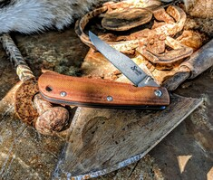 Smith & Sons Knife Company - Cypress Trapper - Natural Micarta Handles