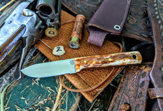 LT Wright Handcrafted Knives -  Maverick Colt  -  Dyed Bone w/Black Liners  -2- NEW